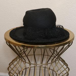 Vintage Hat Mr John Jr Peach Basket Black Bow 50s